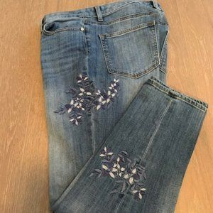 Talbots Floral Embroidered Girlfriend Jeans Sz 8